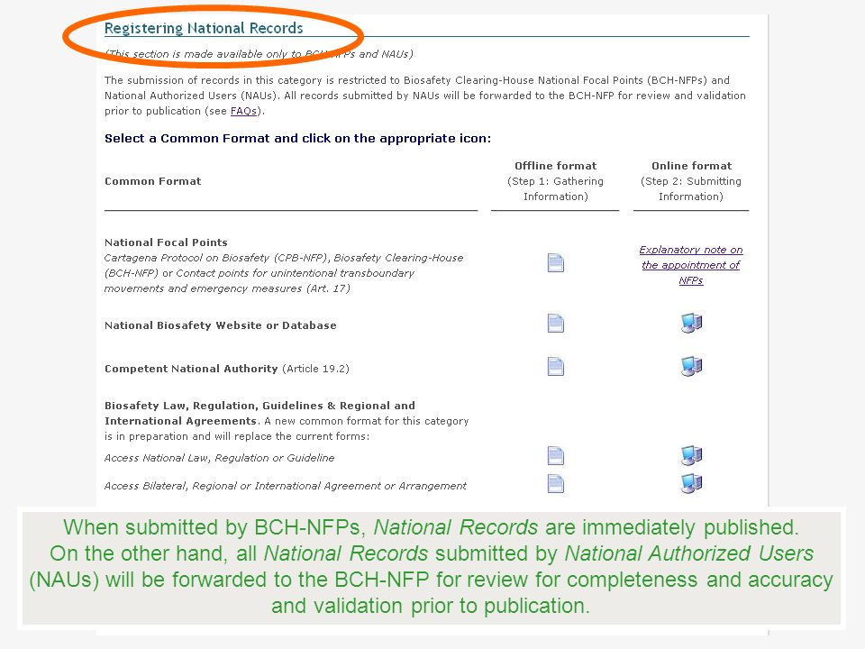 When submitted by BCH-NFPs, National Records are immediately published. On the other hand, all National Records submitted by National Authorized Users