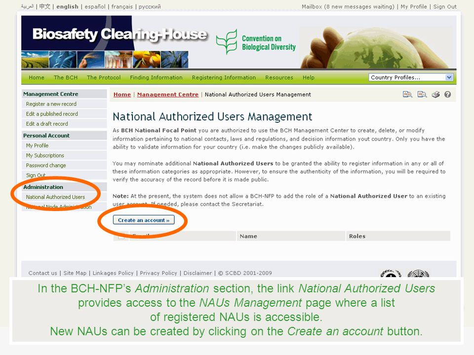 In the BCH-NFPs Administration section, the link National Authorized Users provides access to the NAUs Management page where a list of registered NAUs is accessible.
