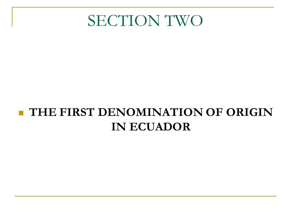 SECTION TWO THE FIRST DENOMINATION OF ORIGIN IN ECUADOR