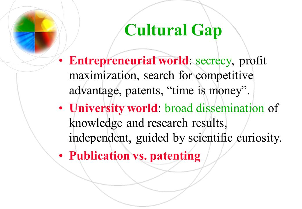 Cultural Gap Entrepreneurial world: secrecy, profit maximization, search for competitive advantage, patents, time is money. University world: broad di