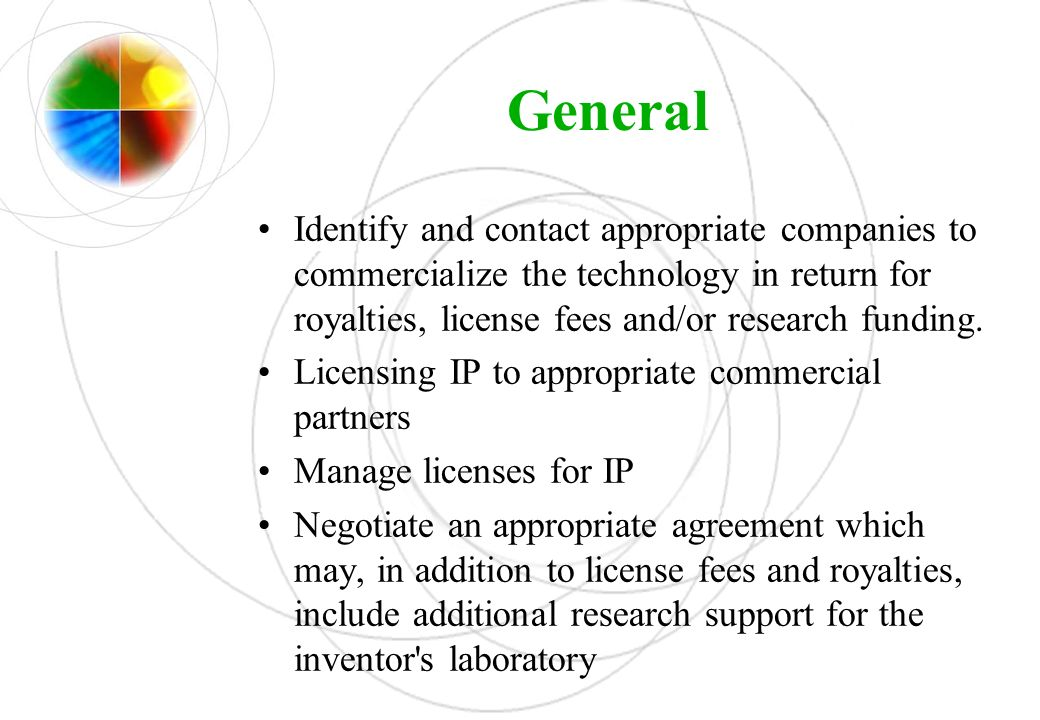 General Identify and contact appropriate companies to commercialize the technology in return for royalties, license fees and/or research funding. Lice
