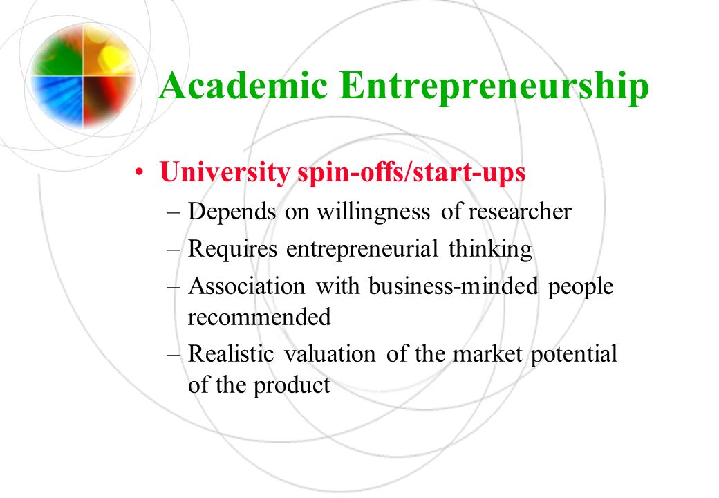 Academic Entrepreneurship University spin-offs/start-ups –Depends on willingness of researcher –Requires entrepreneurial thinking –Association with bu