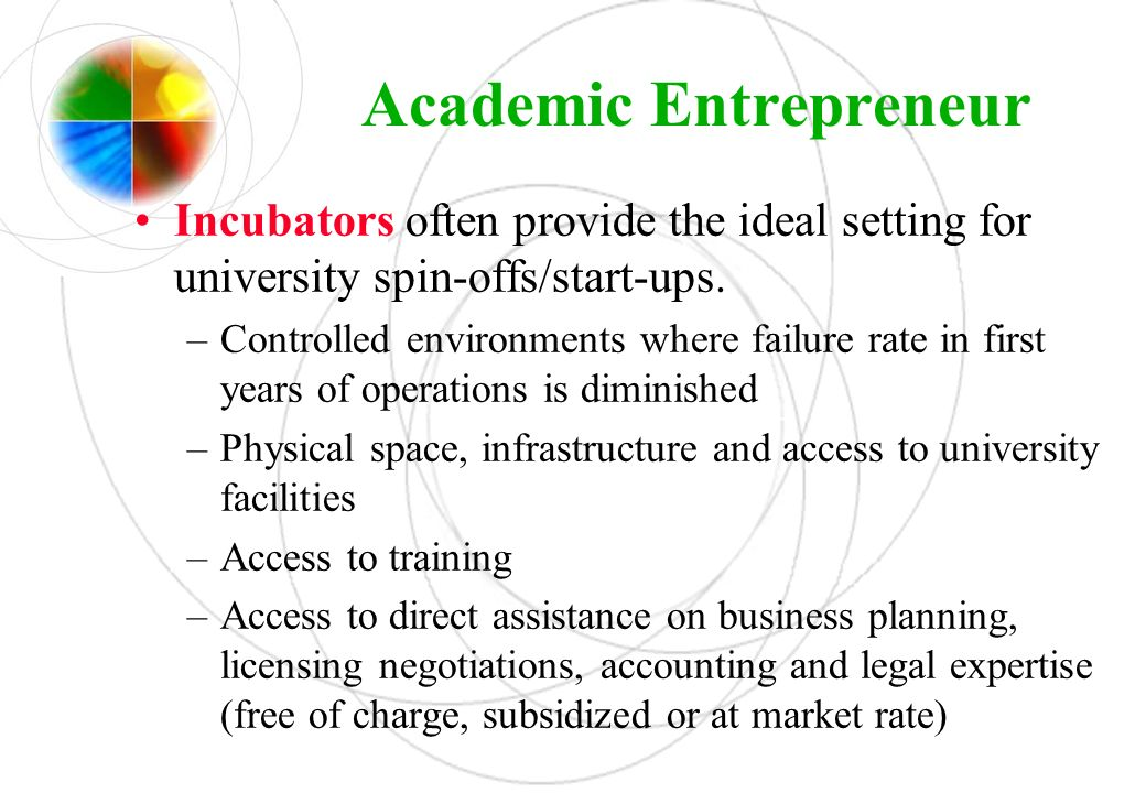 Academic Entrepreneur Incubators often provide the ideal setting for university spin-offs/start-ups. –Controlled environments where failure rate in fi