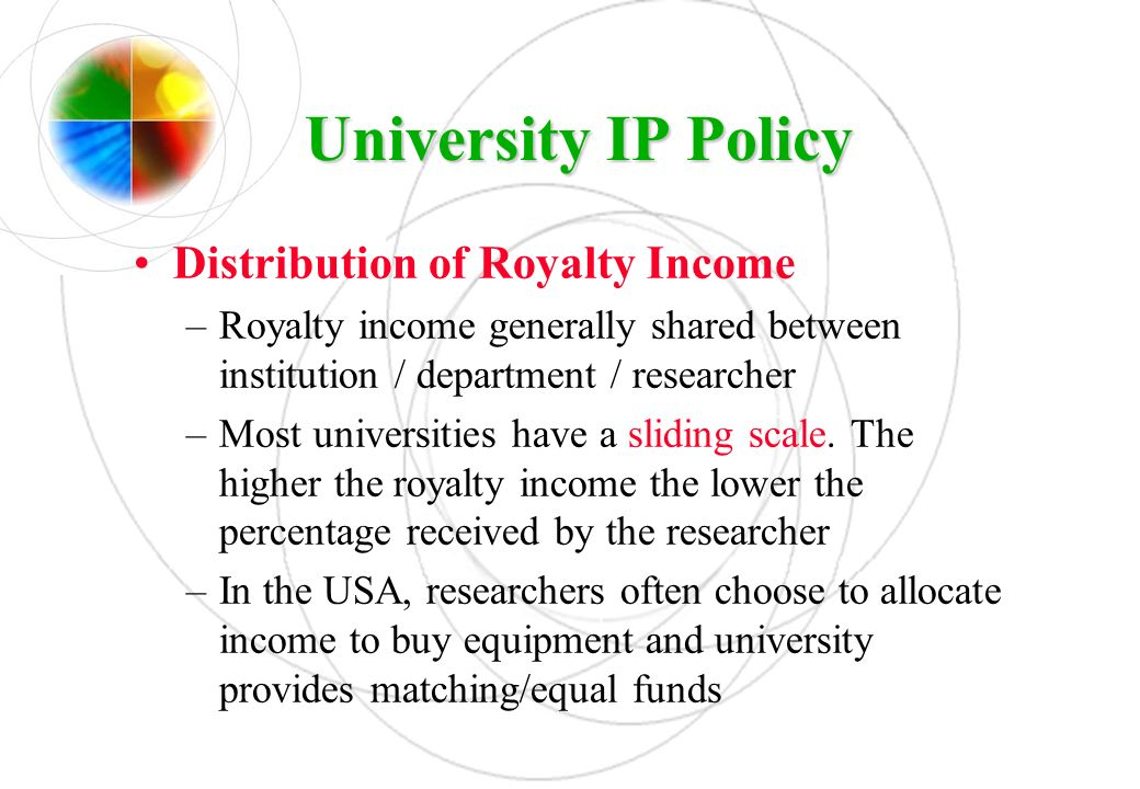 UniversityIP Policy University IP Policy Distribution of Royalty Income –Royalty income generally shared between institution / department / researcher