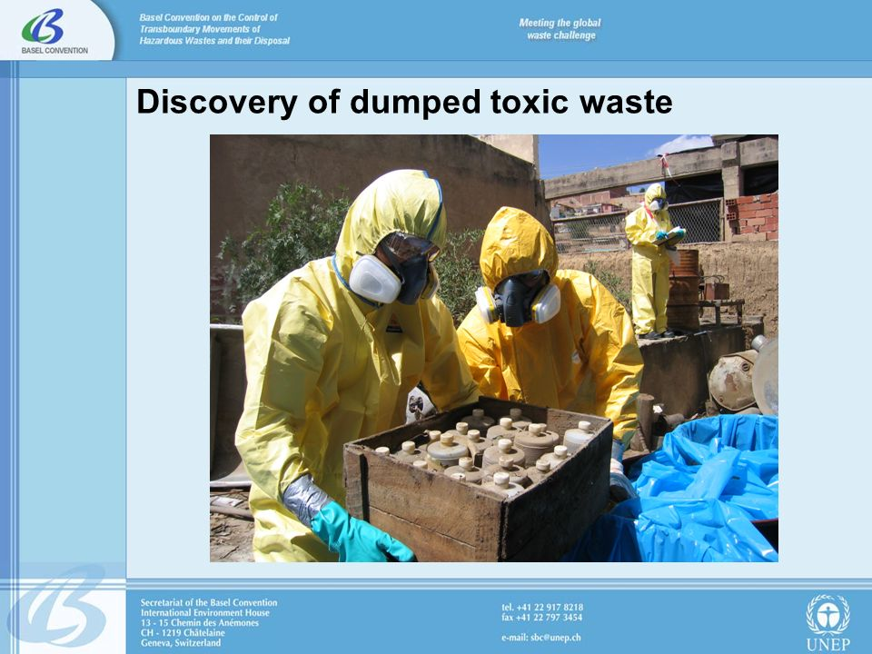 Discovery of dumped toxic waste