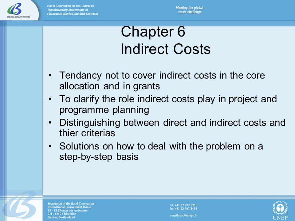 Chapter 6 Indirect Costs Tendancy not to cover indirect costs in the core allocation and in grants To clarify the role indirect costs play in project and programme planning Distinguishing between direct and indirect costs and thier criterias Solutions on how to deal with the problem on a step-by-step basis