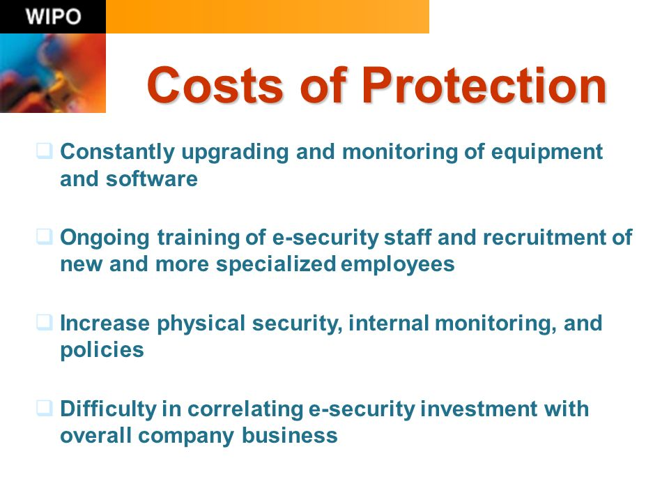 Costs of Protection Constantly upgrading and monitoring of equipment and software Ongoing training of e-security staff and recruitment of new and more specialized employees Increase physical security, internal monitoring, and policies Difficulty in correlating e-security investment with overall company business