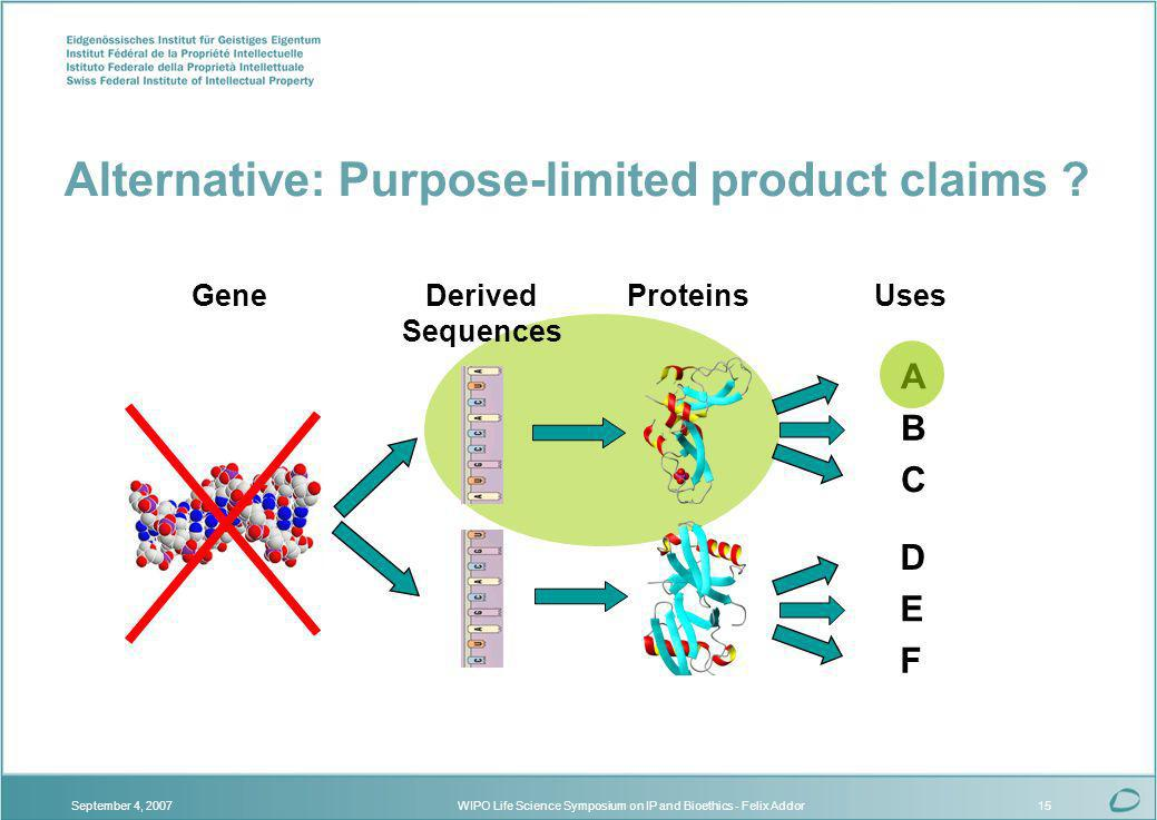 WIPO Life Science Symposium on IP and Bioethics - Felix AddorSeptember 4, 200715 Gene F Uses B A C D E ProteinsDerived Sequences Alternative: Purpose-limited product claims