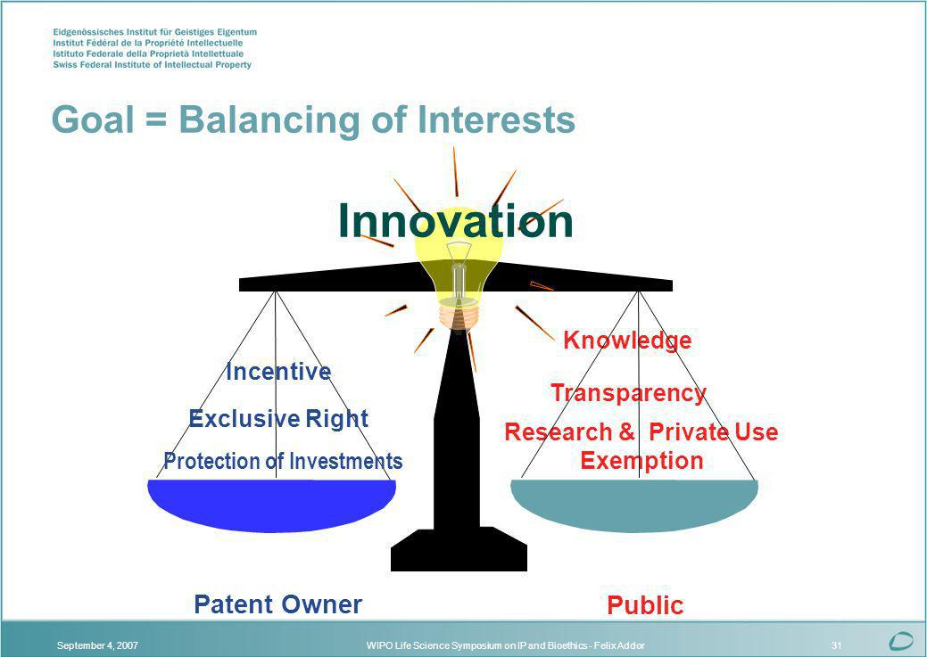 WIPO Life Science Symposium on IP and Bioethics - Felix AddorSeptember 4, 200731 Transparency Knowledge Research & Private Use Exemption Public Patent Owner Innovation Exclusive Right Incentive Protection of Investments Goal = Balancing of Interests