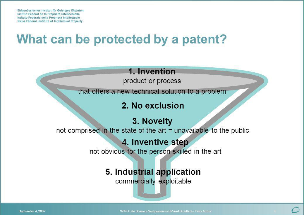 WIPO Life Science Symposium on IP and Bioethics - Felix AddorSeptember 4, 20075 What can be protected by a patent.