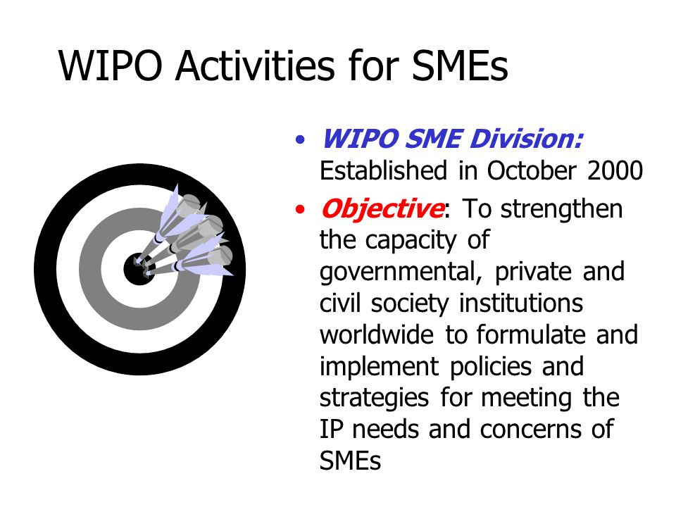 WIPO Activities for SMEs WIPO SME Division: Established in October 2000 Objective: To strengthen the capacity of governmental, private and civil society institutions worldwide to formulate and implement policies and strategies for meeting the IP needs and concerns of SMEs