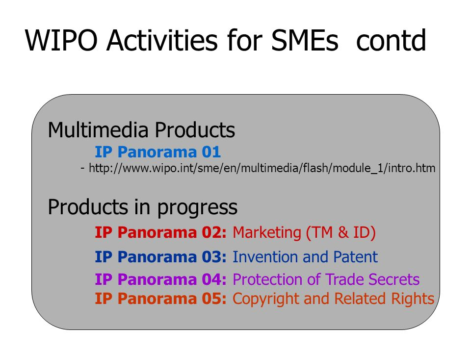 WIPO Activities for SMEs contd Multimedia Products IP Panorama 01 - http://www.wipo.int/sme/en/multimedia/flash/module_1/intro.htm Products in progress IP Panorama 02: Marketing (TM & ID) IP Panorama 03: Invention and Patent IP Panorama 04: Protection of Trade Secrets IP Panorama 05: Copyright and Related Rights