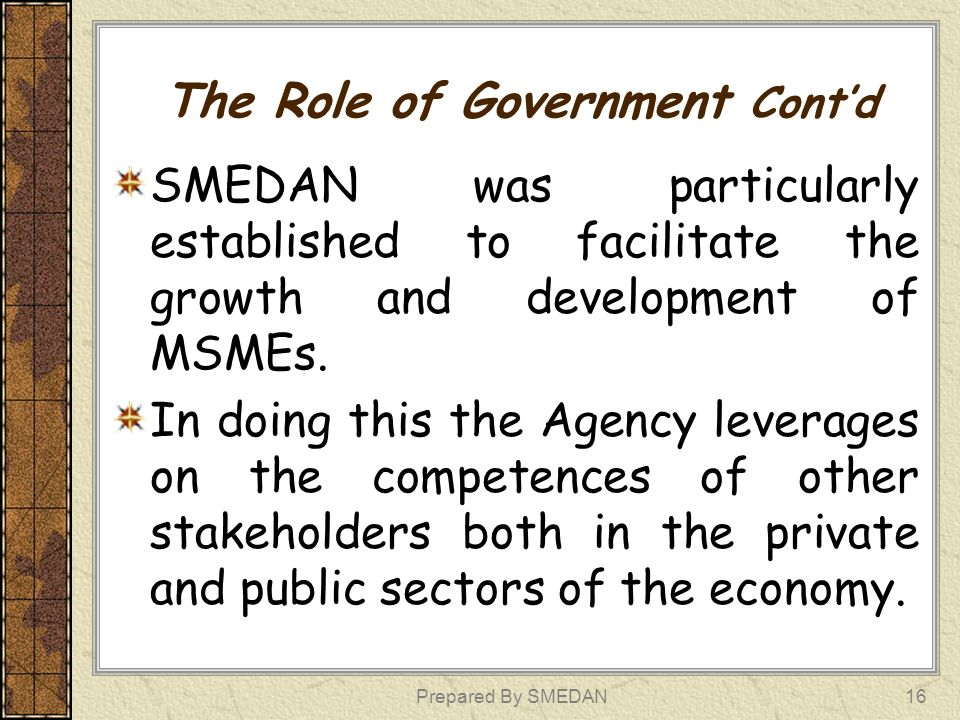 The Role of Government Contd SMEDAN was particularly established to facilitate the growth and development of MSMEs. In doing this the Agency leverages