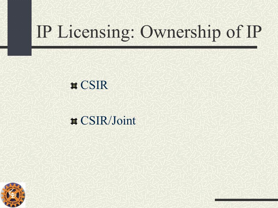 IP Licensing: Ownership of IP CSIR CSIR/Joint