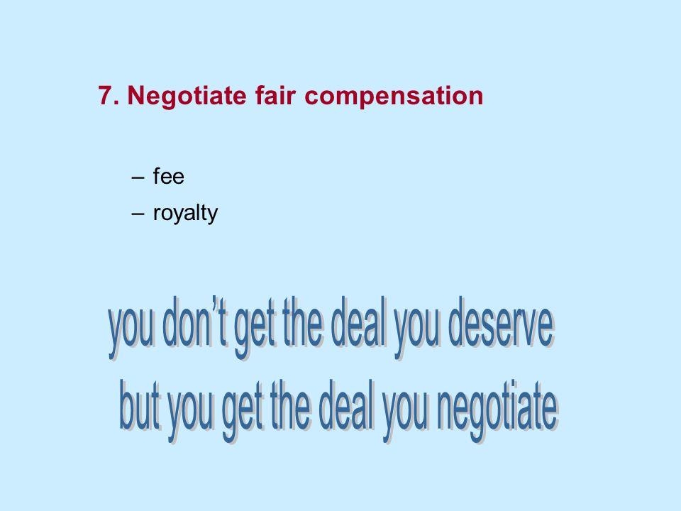 7. Negotiate fair compensation –fee –royalty