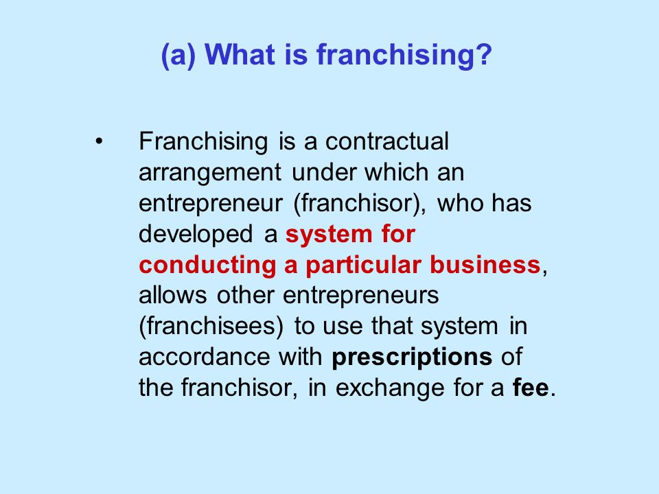 (a) What is franchising.