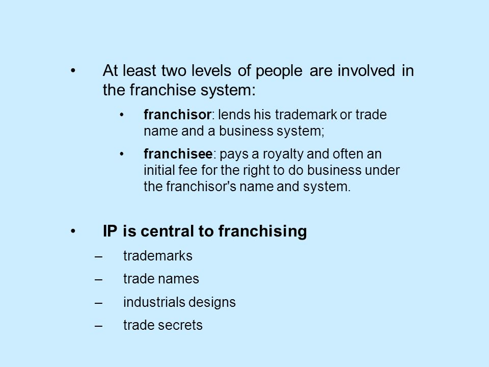 At least two levels of people are involved in the franchise system: franchisor: lends his trademark or trade name and a business system; franchisee: pays a royalty and often an initial fee for the right to do business under the franchisor s name and system.