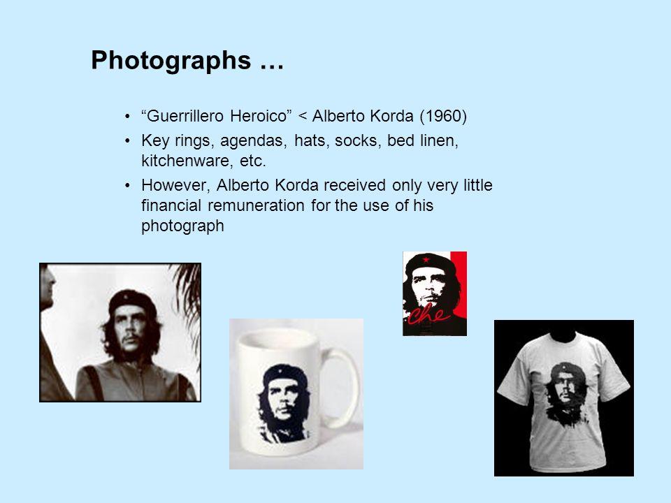 Photographs … Guerrillero Heroico < Alberto Korda (1960) Key rings, agendas, hats, socks, bed linen, kitchenware, etc.