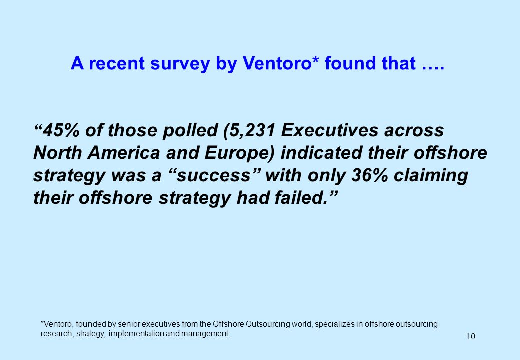 10 45% of those polled (5,231 Executives across North America and Europe) indicated their offshore strategy was a success with only 36% claiming their offshore strategy had failed.