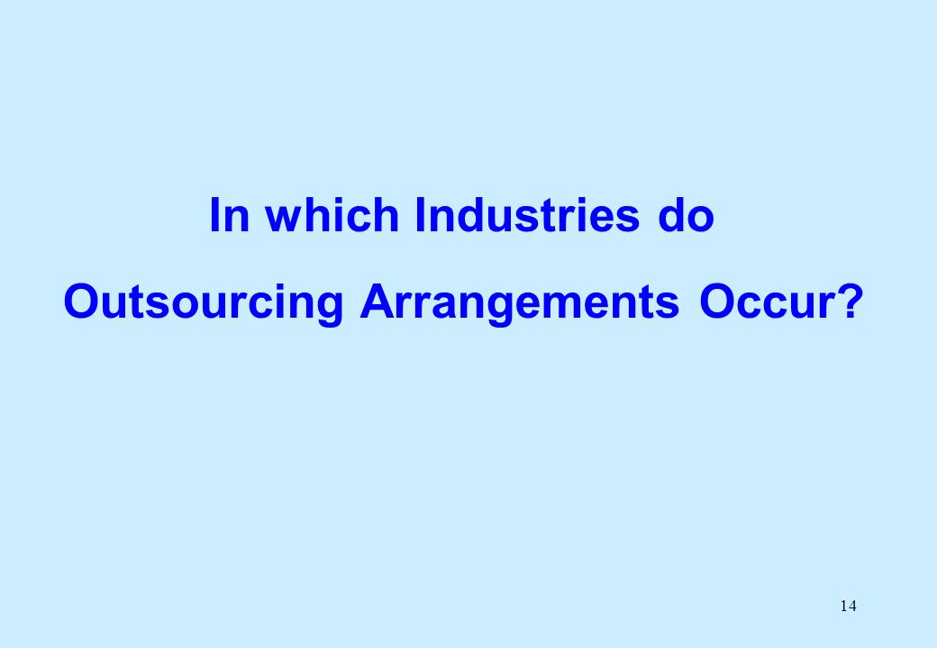 14 In which Industries do Outsourcing Arrangements Occur