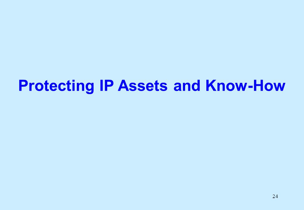 24 Protecting IP Assets and Know-How