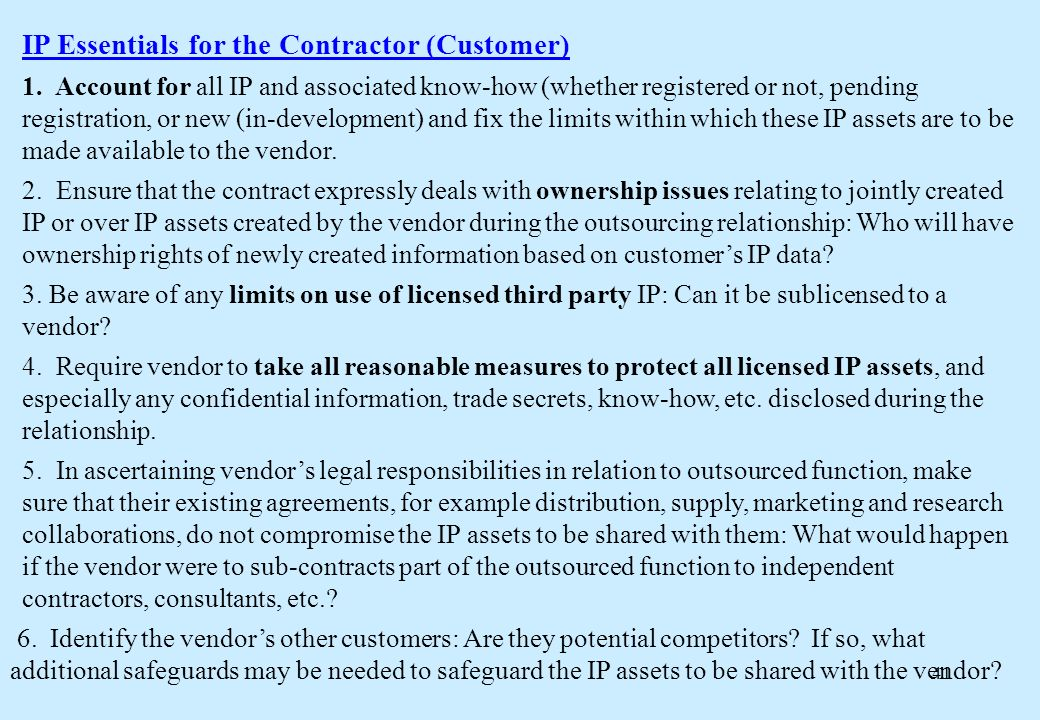 41 IP Essentials for the Contractor (Customer) 1.