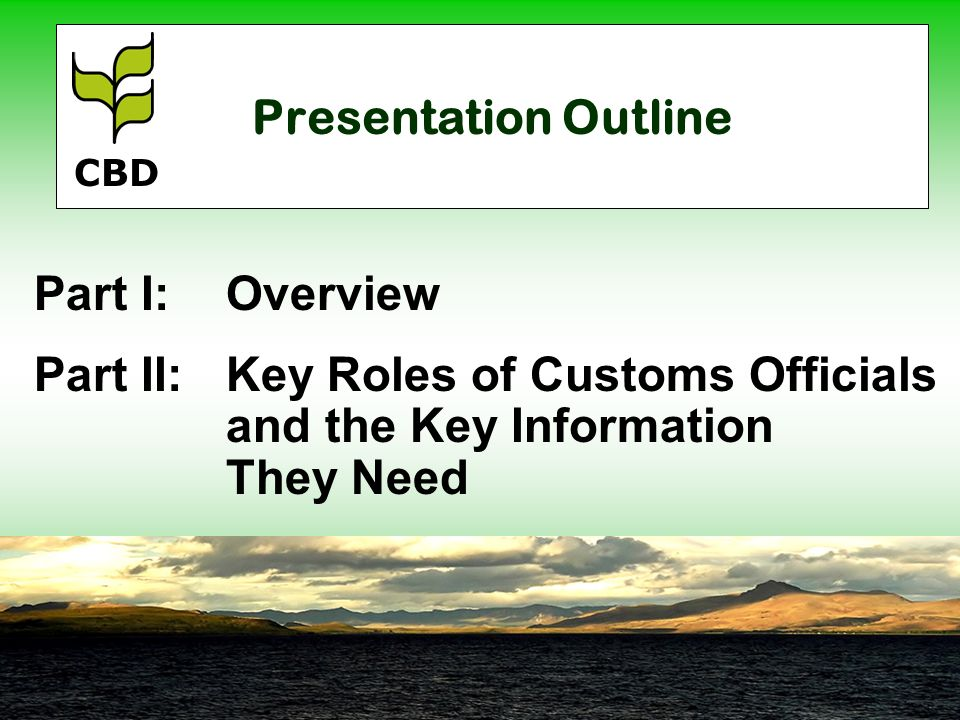 Presentation Outline Part I:Overview Part II:Key Roles of Customs Officials and the Key Information They Need CBD