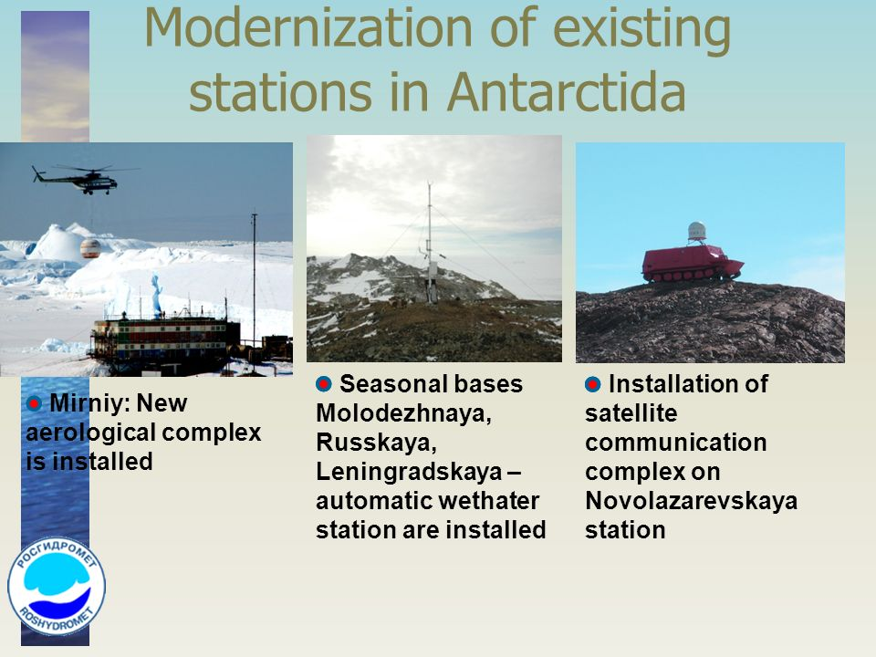 Modernization of existing stations in Antarctida Installation of satellite communication complex on Novolazarevskaya station Mirniy: New aerological complex is installed Seasonal bases Molodezhnaya, Russkaya, Leningradskaya – automatic wethater station are installed