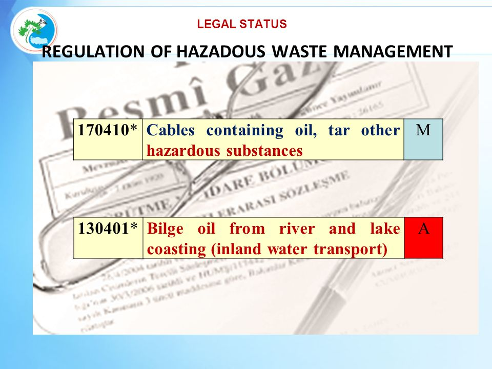 REGULATION OF HAZADOUS WASTE MANAGEMENT 170410*Cables containing oil, tar other hazardous substances M 130401*Bilge oil from river and lake coasting (inland water transport) A