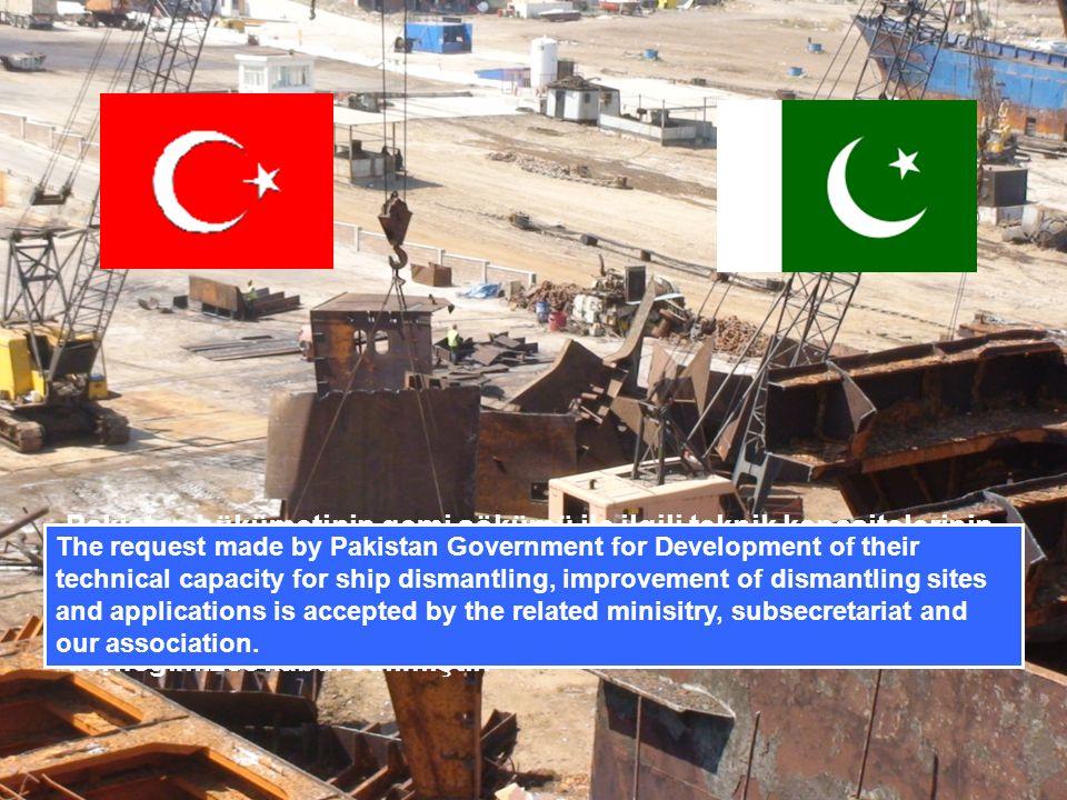 Pakistan hükümetinin gemi sökümü ile ilgili teknik kapasitelerinin geliştirilmesi, söküm alanlarının ve uygulamalarının iyileştirilmesi için Devlet düzeyinde yaptıkları talep, İlgili bakanlık, Müsteşarlık ve derneğimizce kabul edilmiştir.