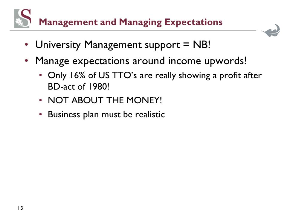 13 Management and Managing Expectations University Management support = NB.