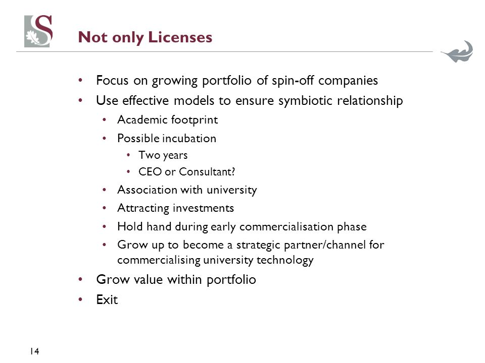 14 Not only Licenses Focus on growing portfolio of spin-off companies Use effective models to ensure symbiotic relationship Academic footprint Possible incubation Two years CEO or Consultant.