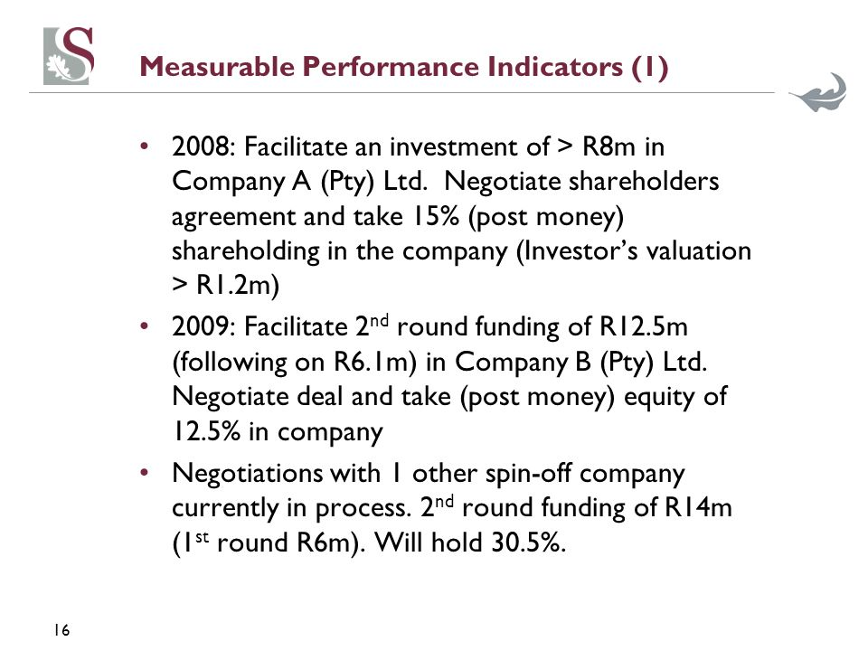 16 Measurable Performance Indicators (1) 2008: Facilitate an investment of > R8m in Company A (Pty) Ltd.