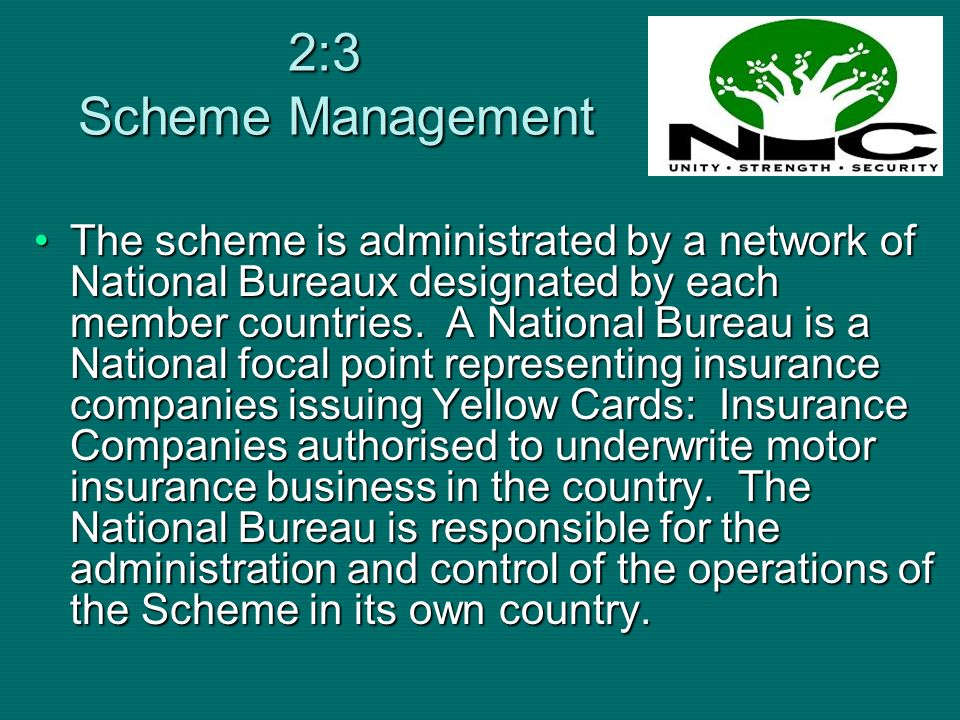 The National Bureaux are multilaterally committed through an Inter-Bureaux Agreement and have reciprocal arrangements among themselves.