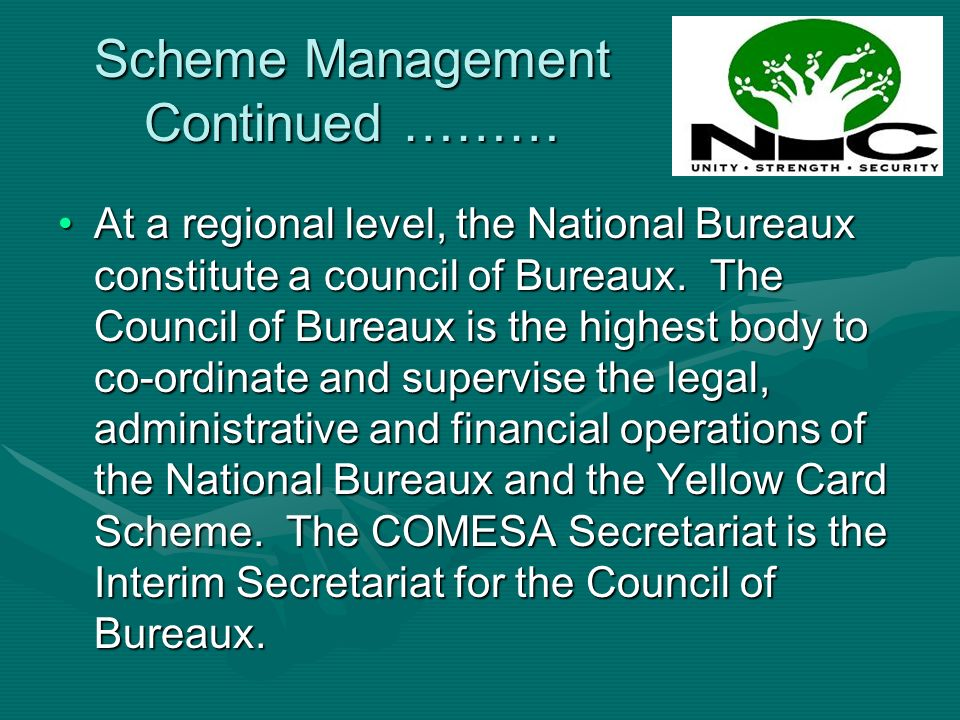 At a regional level, the National Bureaux constitute a council of Bureaux. The Council of Bureaux is the highest body to co-ordinate and supervise the
