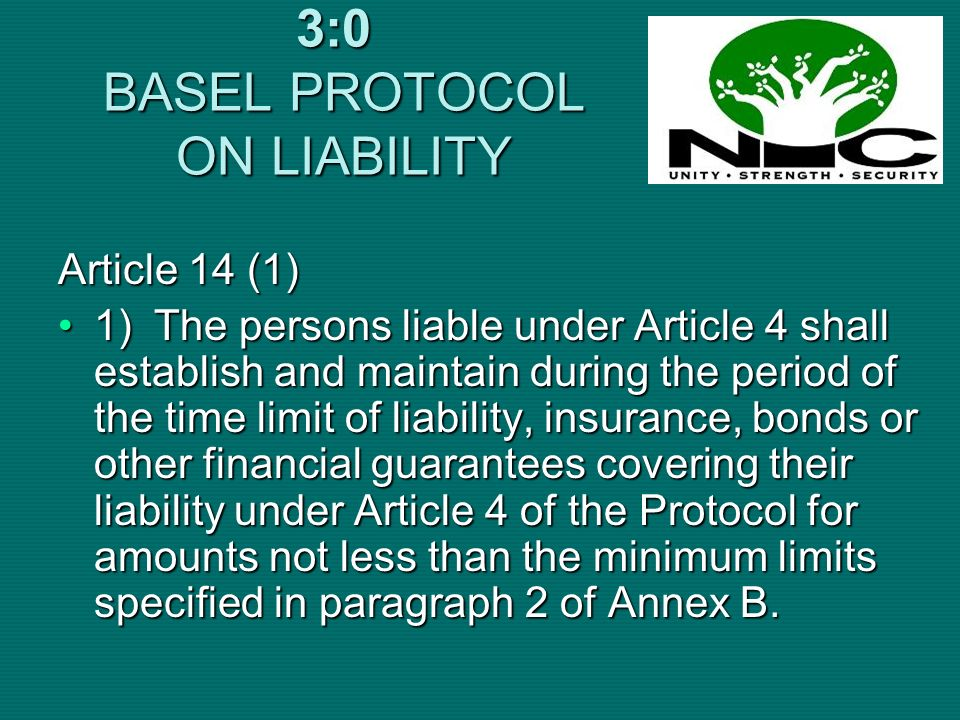 3:0 BASEL PROTOCOL ON LIABILITY Article 14 (1) 1)The persons liable under Article 4 shall establish and maintain during the period of the time limit o