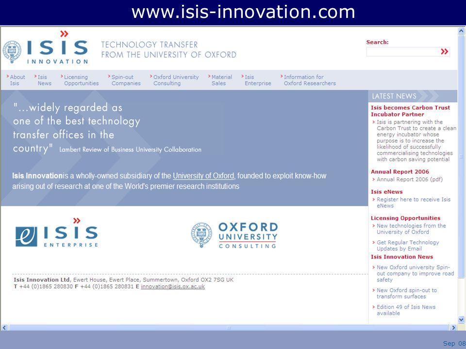Sep 08 www.isis-innovation.com