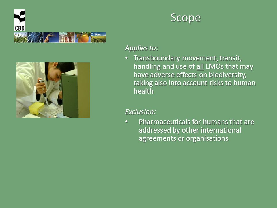 Scope Applies to: Transboundary movement, transit, handling and use of all LMOs that may have adverse effects on biodiversity, taking also into account risks to human health Transboundary movement, transit, handling and use of all LMOs that may have adverse effects on biodiversity, taking also into account risks to human healthExclusion: Pharmaceuticals for humans that are addressed by other international agreements or organisations Pharmaceuticals for humans that are addressed by other international agreements or organisations