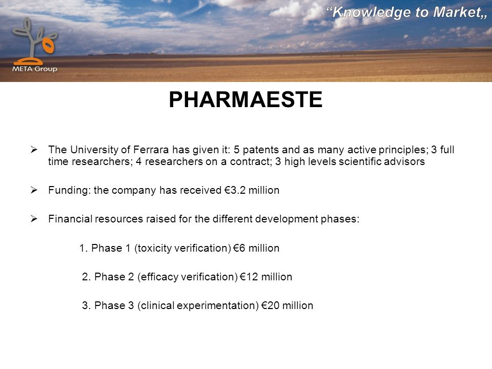 PHARMAESTE The University of Ferrara has given it: 5 patents and as many active principles; 3 full time researchers; 4 researchers on a contract; 3 high levels scientific advisors Funding: the company has received 3.2 million Financial resources raised for the different development phases: 1.