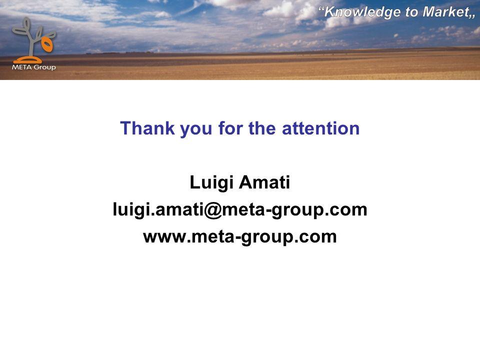 Thank you for the attention Luigi Amati luigi.amati@meta-group.com www.meta-group.com