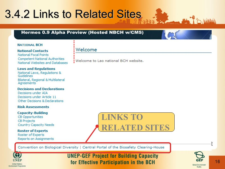 16 Module 3. Content Management Links to Related Sites This is true to all NBCH web pages.