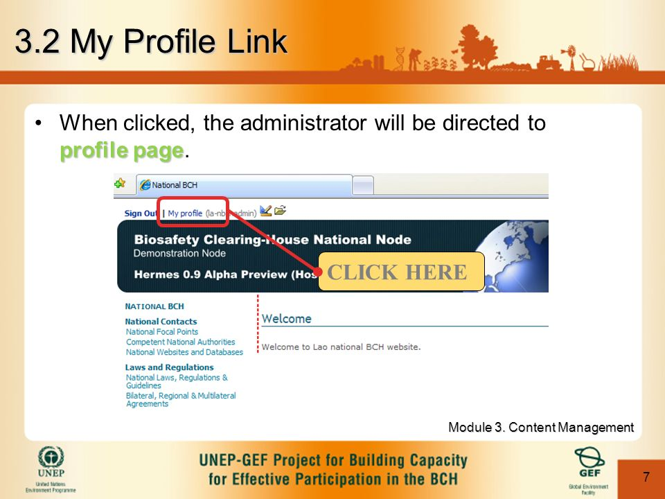 7 3.2 My Profile Link profile pageWhen clicked, the administrator will be directed to profile page.