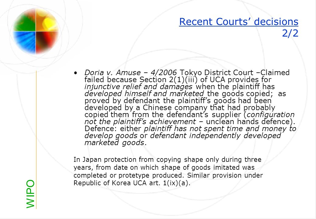 WIPO Recent Courts decisions 2/2 Doria v.