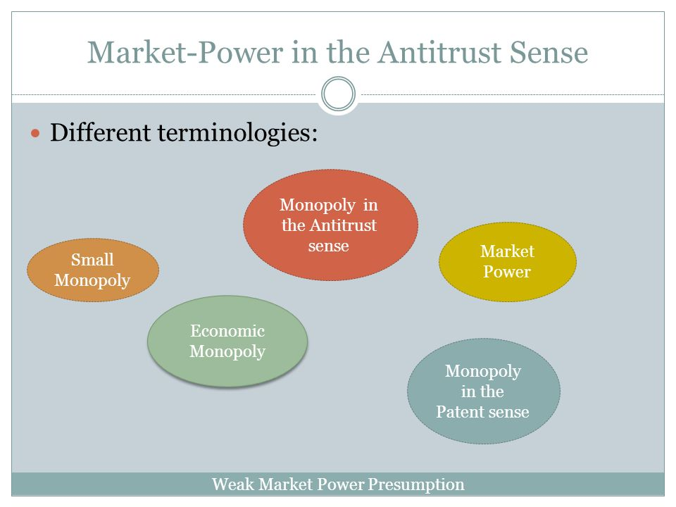 Weak Market Power Presumption Market-Power in the Antitrust Sense Different terminologies: Monopoly in the Antitrust sense Market Power Economic Monopoly Monopoly in the Patent sense Small Monopoly