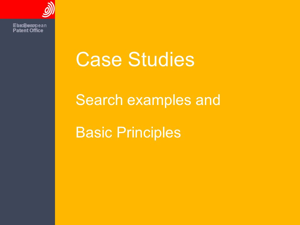 The European Patent Office European Patent Office Case Studies Search examples and Basic Principles The European Patent Office