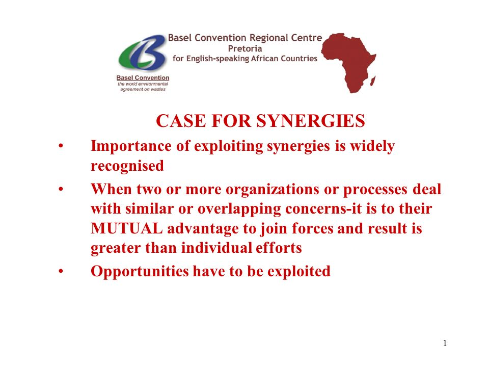 1 CASE FOR SYNERGIES Importance of exploiting synergies is widely recognised When two or more organizations or processes deal with similar or overlapping concerns-it is to their MUTUAL advantage to join forces and result is greater than individual efforts Opportunities have to be exploited