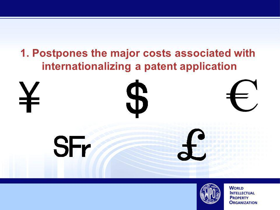 1. Postpones the major costs associated with internationalizing a patent application
