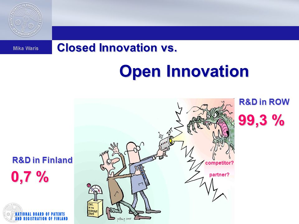 Mika Waris R&D in ROW 99,3 % 0,7 % R&D in Finland Closed Innovation vs.