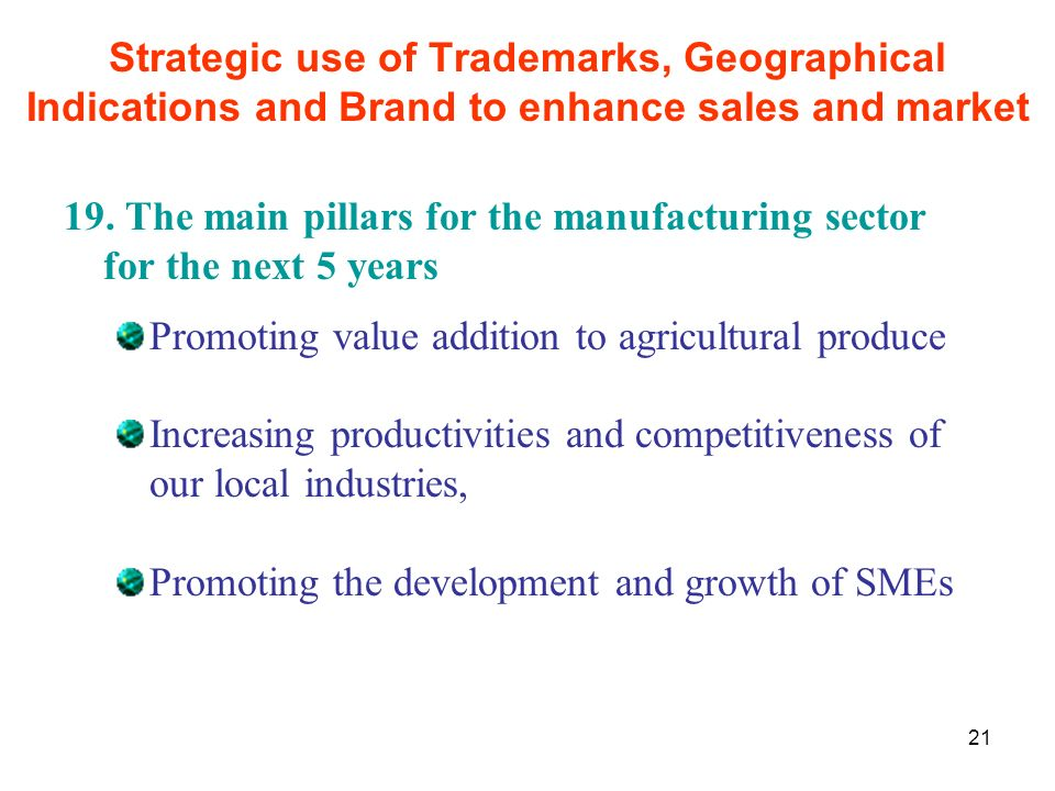 21 19. The main pillars for the manufacturing sector for the next 5 years Promoting value addition to agricultural produce Increasing productivities a
