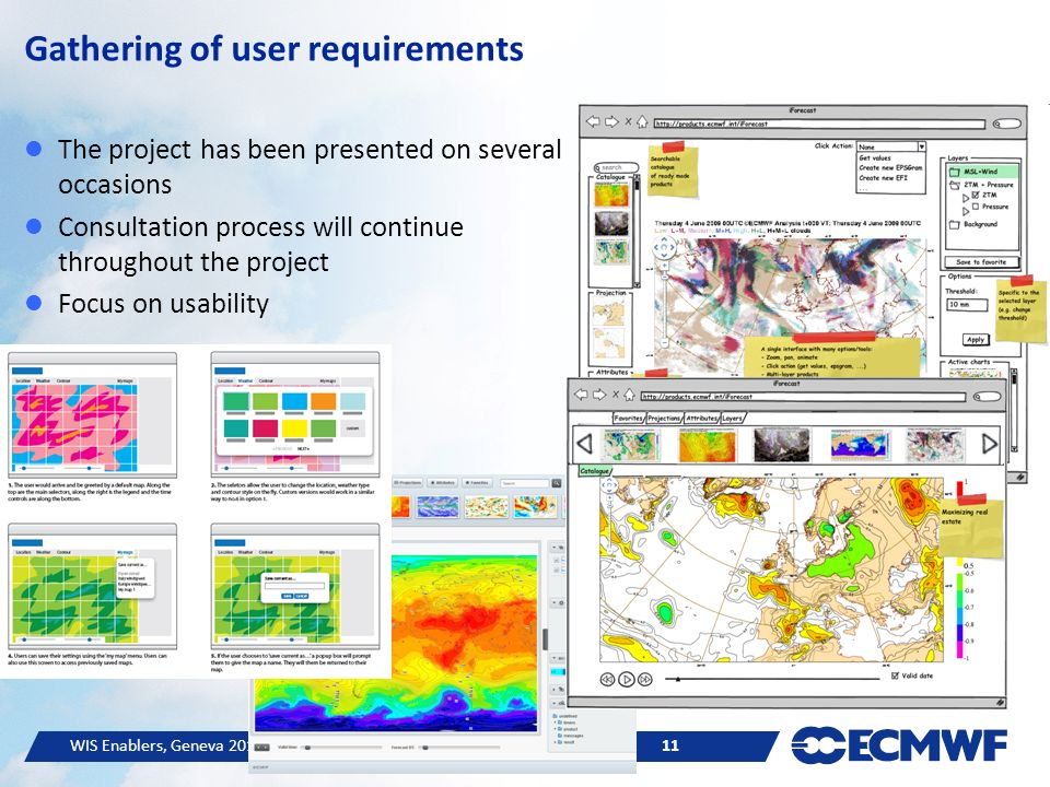 WIS Enablers, Geneva © ECMWF 11 Gathering of user requirements The project has been presented on several occasions Consultation process will continue throughout the project Focus on usability